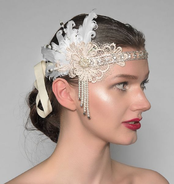"Cream White Lace + Feathers Flapper Crystal Headband ""Zia"" Gatsby Art Deco Bridal Fascinator 1920s"